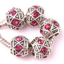 Fashion 5pcs Silver Czech big hole Beads Fit European Charm Bracelet DIY - $2.99
