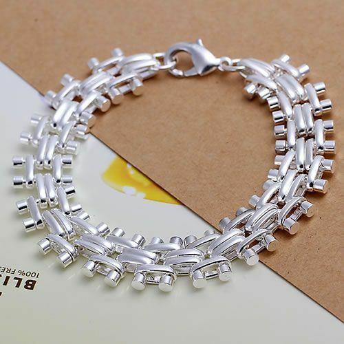 Primary image for Spike and Rail Chain Bracelet 925 Sterling Silver NEW