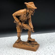 Arnart black forest german figurine hunter rifle feather hat carved stat... - $39.55
