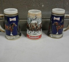 Lot of 3 Budweiser Clydesdale Drinking Stoneware Beer Steins (b32) - $28.04