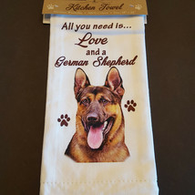 German Shepherd Kitchen Dish Towel Dog All You Need Is Love Pet Cotton 1... - $11.49