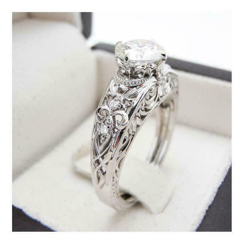 2.50Ct White Round Diamond Vintage Filigree Engagement Ring White Gold Finish - $177.65