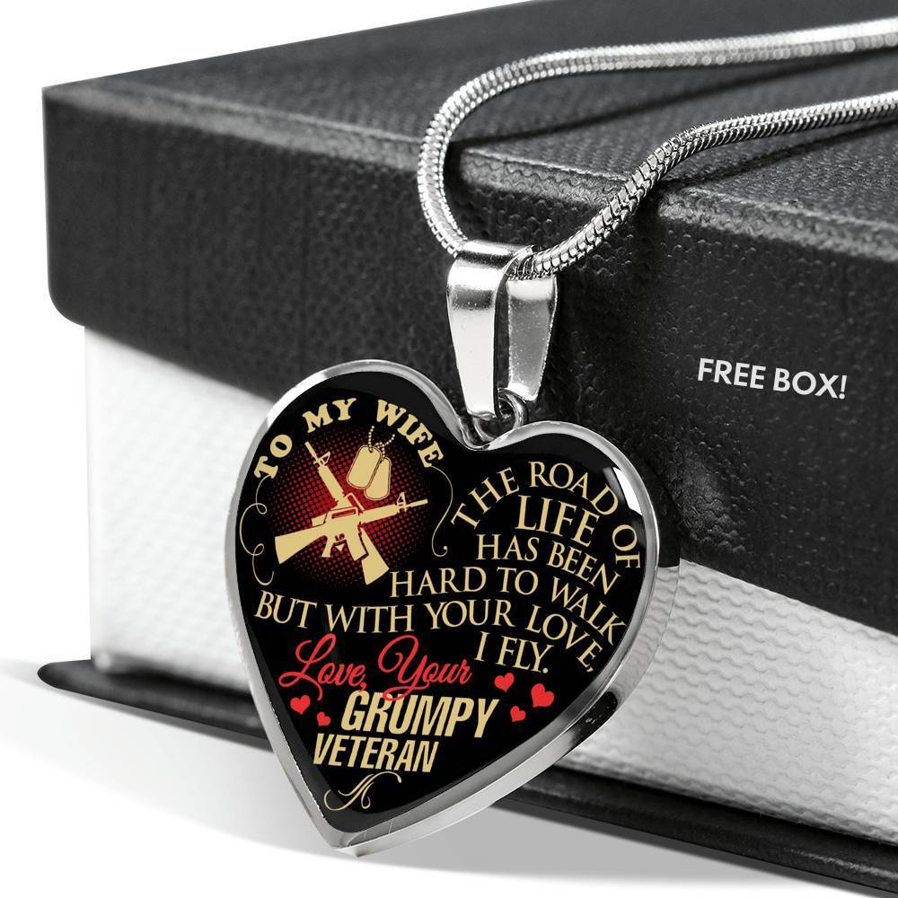 To My Wife The Road Love Your Grumpy Veteran Heart Necklace