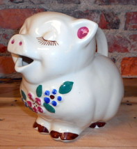 Vintage Smiley Smiling Pig Pitcher Embossed Flowers Shawnee Pottery USA - $63.69
