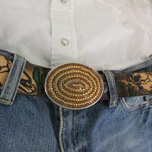 Mode Cowgirl Homme Femme Boucle Ovale Western Métal Argent Marron Strass image 11