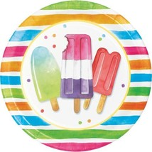 "Hello Summer 8 Ct Luncheon 9"" Plates Beach Pool Party Popsicle - £2.52 GBP"