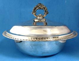 Retro Silver Plate Casserole And Lid Fire King Glass Insert Dish Leonard Silver  - $38.00