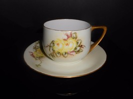 Rosenthal Donatello Yellow Wild Rose 1922 Green Mark Cup & Saucer Antique China - $9.50