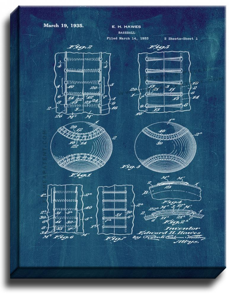 Primary image for Baseball Patent Print Midnight Blue on Canvas