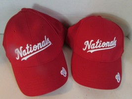 Washington DC Nationals Baseball Cap Hat Red MLB One Size Lot of 2 WORD ... - $17.74