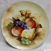 "Enesco Japan Handpainted FRUIT 8 3/4"" Plate E2371 Artist Signed Vintage Foil Tag - $14.99"