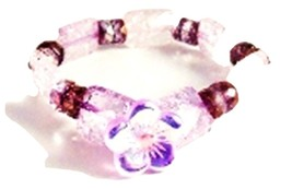 Handcrafted V L Designs Ice Flake Crystal Stretch Pastel Bracelet B132 - $14.85