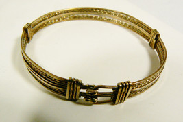 Vintage Fashion Deco Jewelry Gold Filled Wire Buckle Bangle Bracelet - $70.49