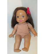 Fisher Price Baby Doll Little Mommy Brunette Brown hair Eyes 2011 pink bow - $19.79