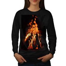Fireplace Fire Nature Jumper Cozy Night Women Sweatshirt - $18.99