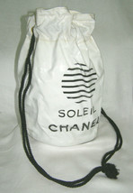 "Chanel Vintage White w/BLACK ""Soleil Chanel"" Drawstring TOTE- BEACH/TRAVEL/POUCH - $197.01"