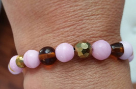 Pink and Gold Glass Beaded Bracelet - $10.00