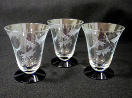 Crystal Clear Glass Footed Tumbler Cobalt Blue Cut Leaf Flower Set of 3 ... - $19.99