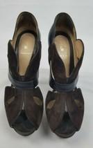 Fendi women 6.5 brown velvet platform peep toe pumps cutout detail Italy - $224.43