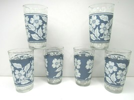 "6 VTG Hazel Atlas White Flower Blue Jasperware Dogwood MCM 5"" Glass Bar ... - $39.27"