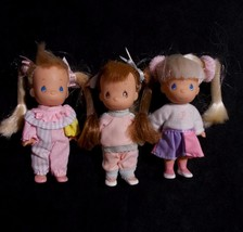 "Precious Moments Rose Art Doll Lot Pigtail Clown Jogger Cheerleader Mini 4"" - $24.74"