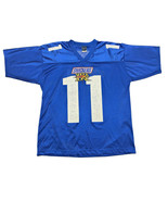 Vintage 90s Snickers Shock Zone #11 NFL Football Giants Blue Jersey Mens Size L - $19.79