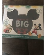 "Mickey Mouse Ears Milestone Sticker ""Promoted To Big Brother"" Disney red... - $7.91"