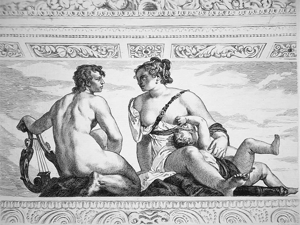 Primary image for NUDE Venus Apollo in Villa Barbaro - 1876 ETCHING Print after Veronese Painting
