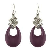 Alexis Bittar Gunmetal Baguette Cluster Black Cherry Lucite Drop Earring... - $138.11