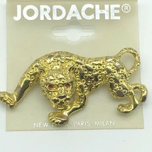 Jordache Brooch Pin Panther Gold Tone Red Rhinestone Vintage 1980s New Old Stock - $11.88