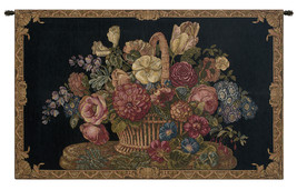 Flower Basket with Black Chenille Background Italian Wall Tapestry - $144.00