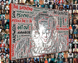 Horror Movie Word Art Print Mosaic Designed using Horror Movie Titles.  - $49.00+