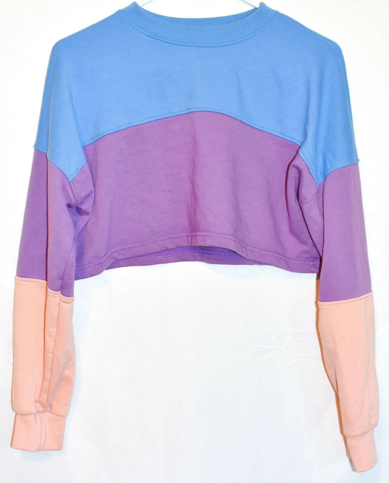 Missguided Women's Blue Purple Peach Colorblock Crop Sweatshirt Size US 2
