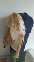 """NWT CAPELLI BLUE QUILTED FAUX FUR TRAPPER HAT, 20""""HEAD, SPOTTED 3 TONE FUR - $8.90"""
