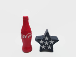 Coca-Cola Salt And Pepper Shaker Patriotic Star And Bottle Red White Blue - $17.82