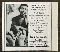 1976 Komito Boots Estes Park CO Print Ad Mountain Footwear Specialists - $7.64
