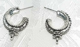 HOOP WITH DROP LOOP FINE PEWTER EARRING PART - $0.99
