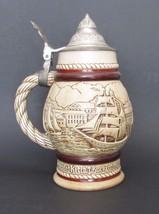 Avon Nautical Schooner Beer Stein Lidded Mug Hand Crafted in Brazil 1977 - $12.19