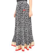 Red Border Leaves Jaipuri Skirt - $25.75
