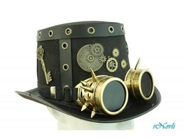 Steampunk Top Hat Handmade Halloween Costume Cosplay Party W/ Goggles an... - $26.63