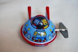 "NEW Nostalgic Sanko Tin Toy 2"" Wind Up Auto Turn Space Patrol UFO Made i... - $15.79"