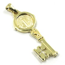 SOLID 18K YELLOW GOLD KEY PENDANT, SAINT BENEDICT MEDAL, CROSS, 1.2 INCHES image 1