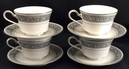 4 Sets Noritake Prelude Ivory China Teacups with Saucers Black Scroll Pl... - £26.58 GBP