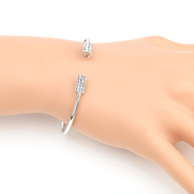UE-Silver Tone Designer Bangle Bracelet With Sparkling Swarovski Style C... - $18.99