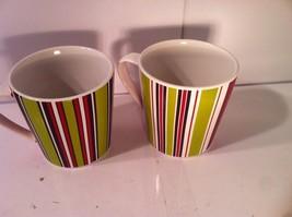SET OF 2--TRISH RICHMAN COFFEE MUGS--2007--GREEN / RED / BROWN--SHIPS FR... - $31.43