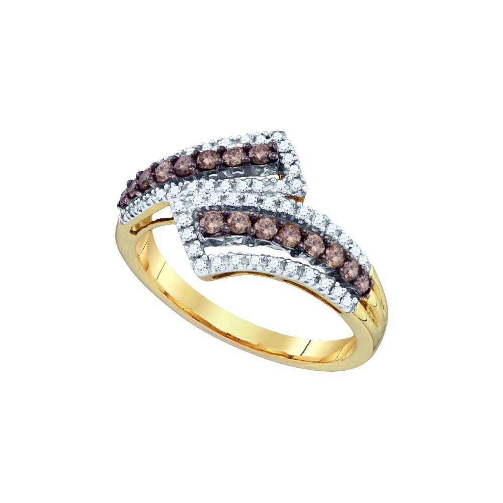 10k Yellow Gold Round Brown Color Enhanced Diamond Band Fashion Ring 1/2 Ctw