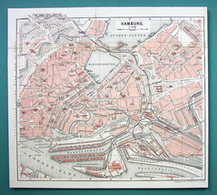 "1884 MAP Baedeker - GERMANY Hamburg City Plan 10.5 x 11.5 "" (26 x 29 cm) - $16.20"