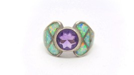 Vintage DAVID FREELAND JR.Amethyst and Opal Inlay Sterling Silver Ring -... - $150.00