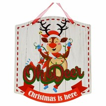 Christmas Whimsical Sign, 11x8.5 in. Oh Deer Christmas is Here w - $6.99