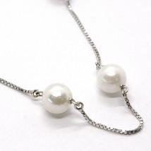 Collar Oro Blanco 18K, Perlas Blancas 7.5 mm, Akoya Japonés, Cadena Veneciano image 2